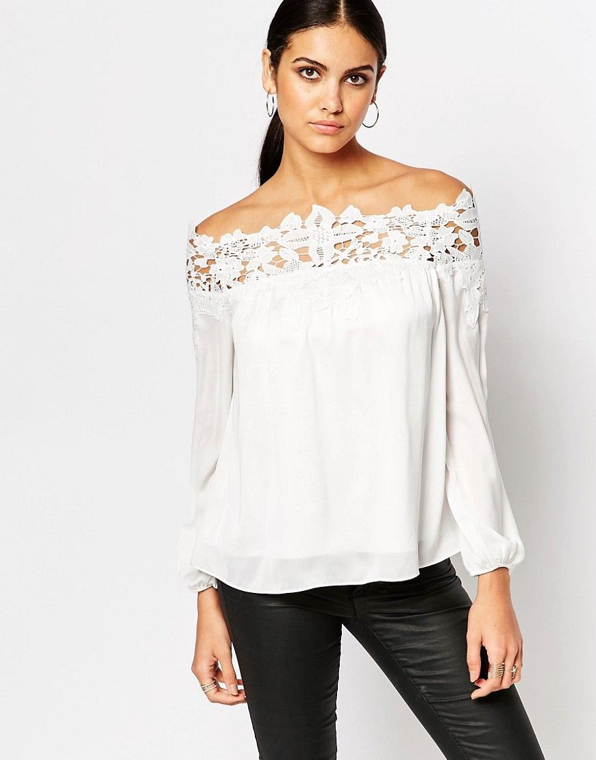 Image 1 of Lipsy Bardot Blouse With Lace Detail | Style ...