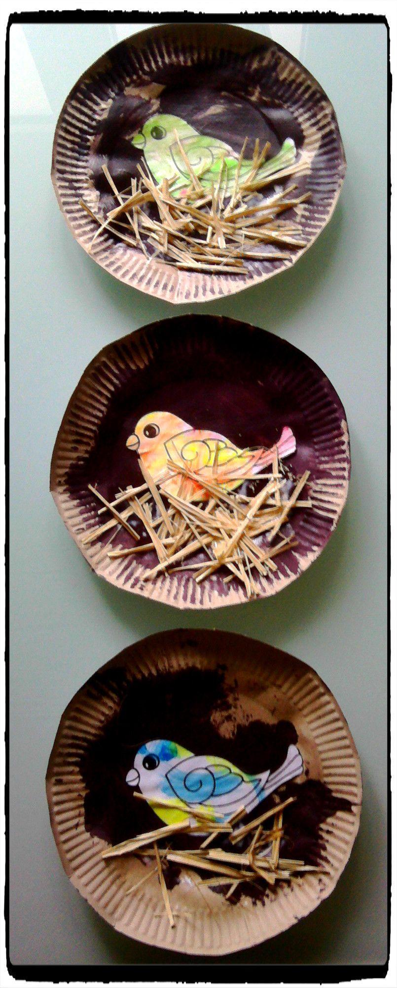 nid d 39 oiseau en assiette en carton les printemps maternelle et printemps. Black Bedroom Furniture Sets. Home Design Ideas