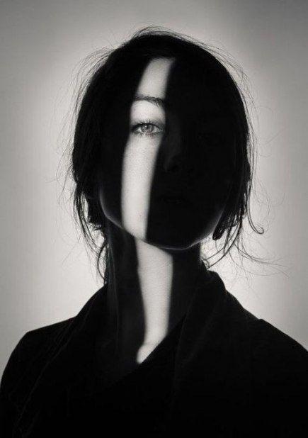 girl shadow art black white