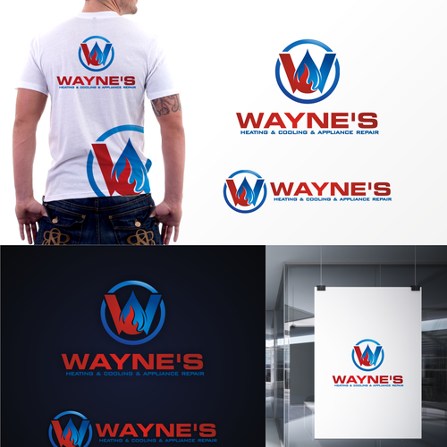 Wayne S Heating Cooling Appliance Repair Create A Bold In Your Face Logo Construction Logo Appliance Repair Logo Design