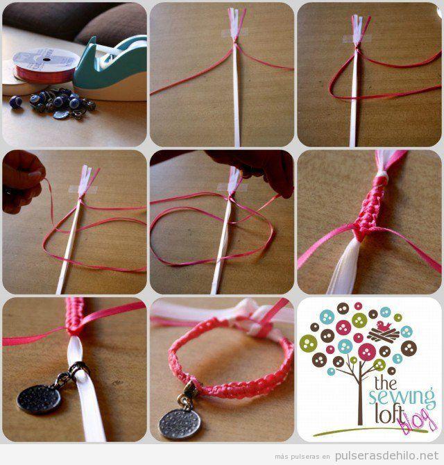 bc77b133750d Tutorial aprender hacer pulsera nudos con hilo cola de ratón ...