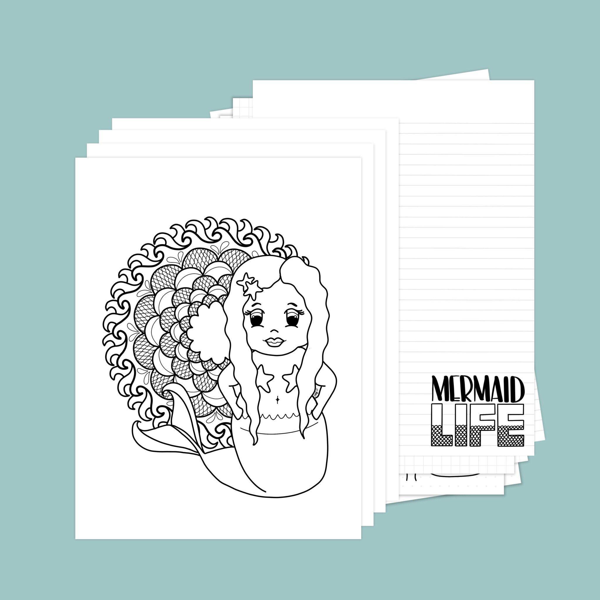 Mermaid Coloring and Journaling Bundle has 5 coloring
