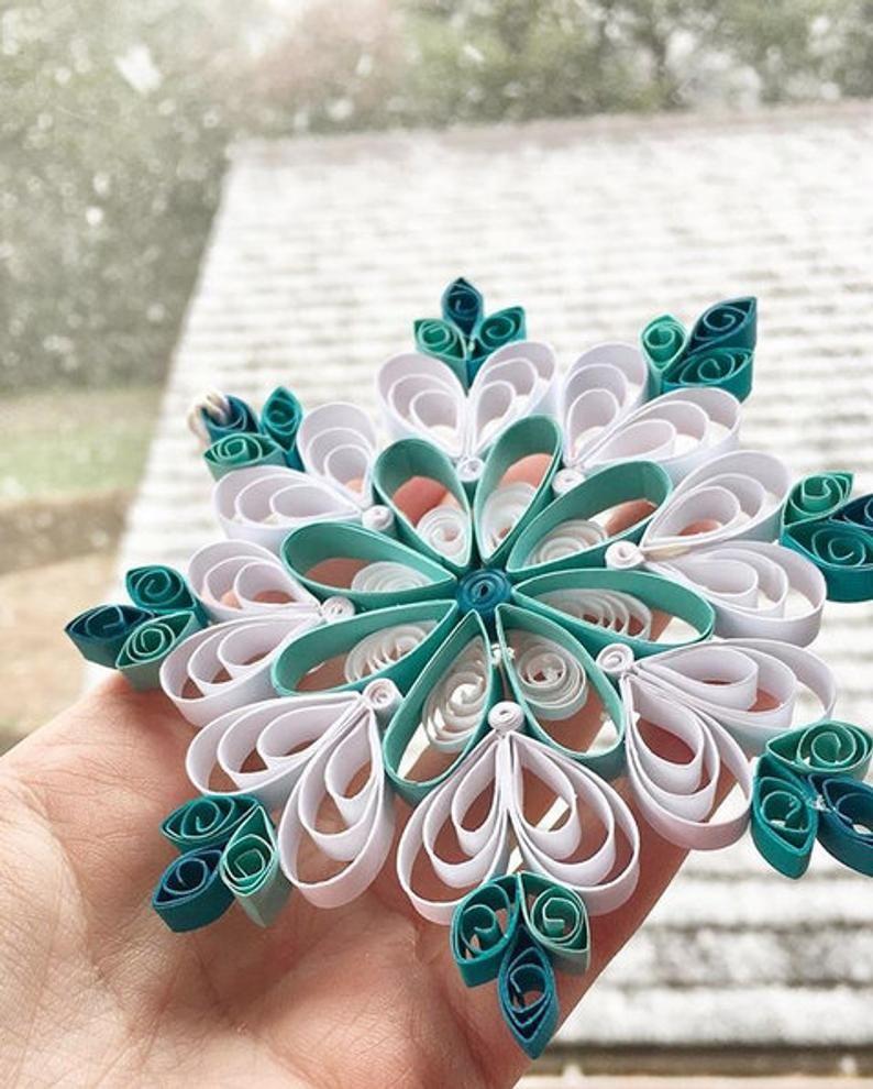 Aqua Blue Paper Quilled Snowflake Ornament image 1