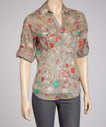 taupe & floral button up 18.99