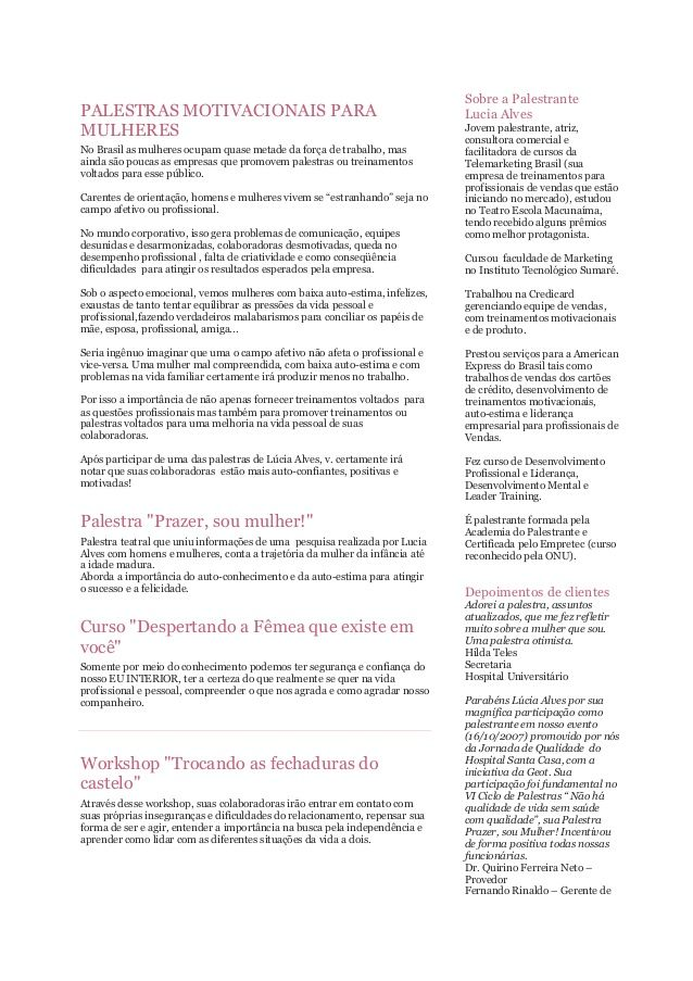 Palestras Motivacionais Para Mulheres No Brasil As Mulheres