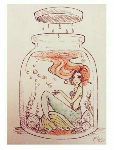 Little Mermaid Art In A Jar Art Pinterest Drawings Mermaid