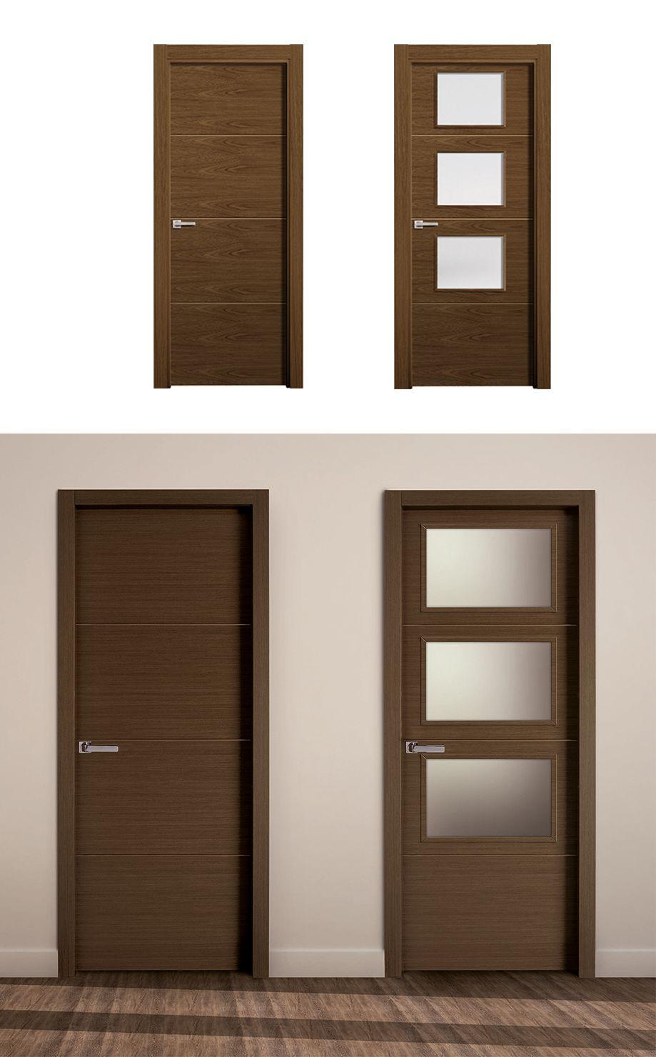 Puerta de interior oscura modelo ganges de la serie for Modelos de puertas de madera