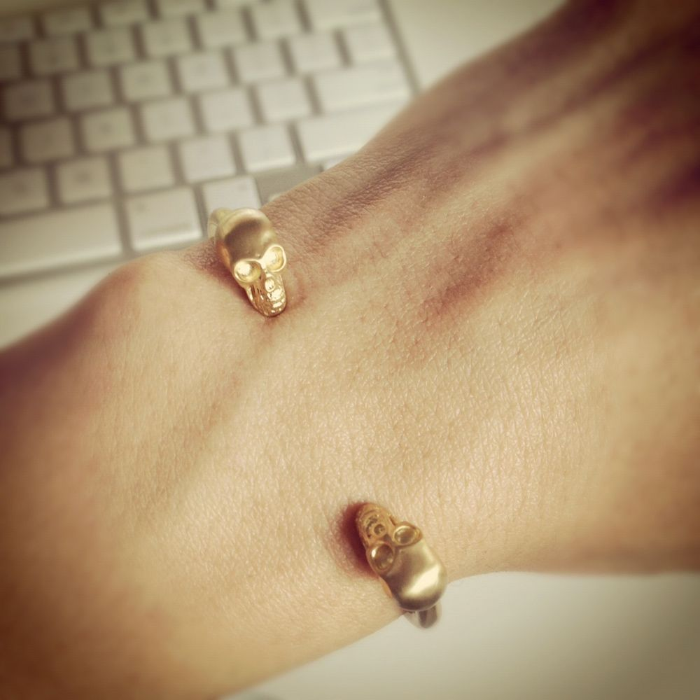 Madebygirl new k goldplate double skull gold stuff my