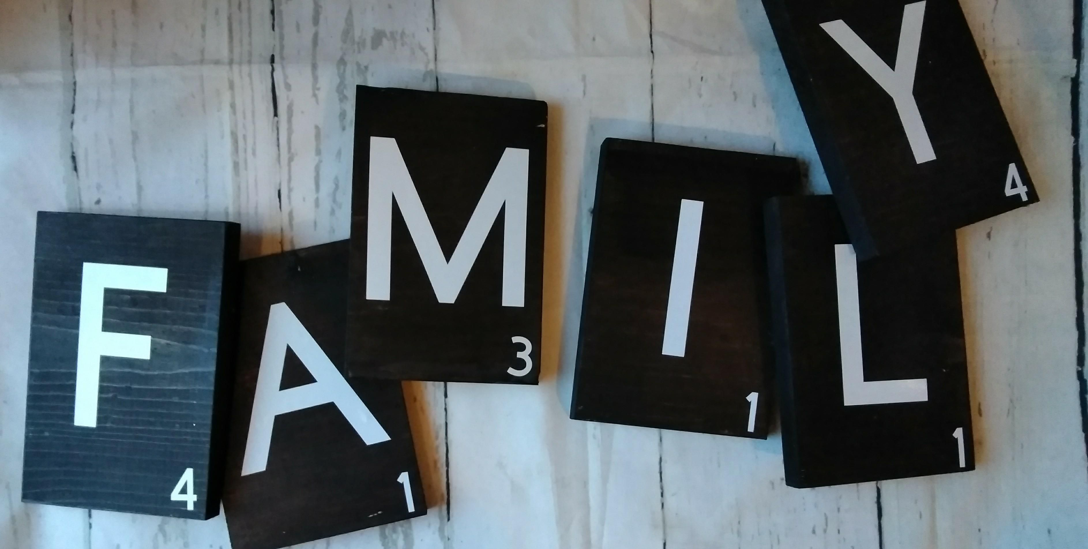 Family Scrabble Tiles In Black And White Scrabble Tile Wall Art Scrabble Tiles Wall Staining Wood