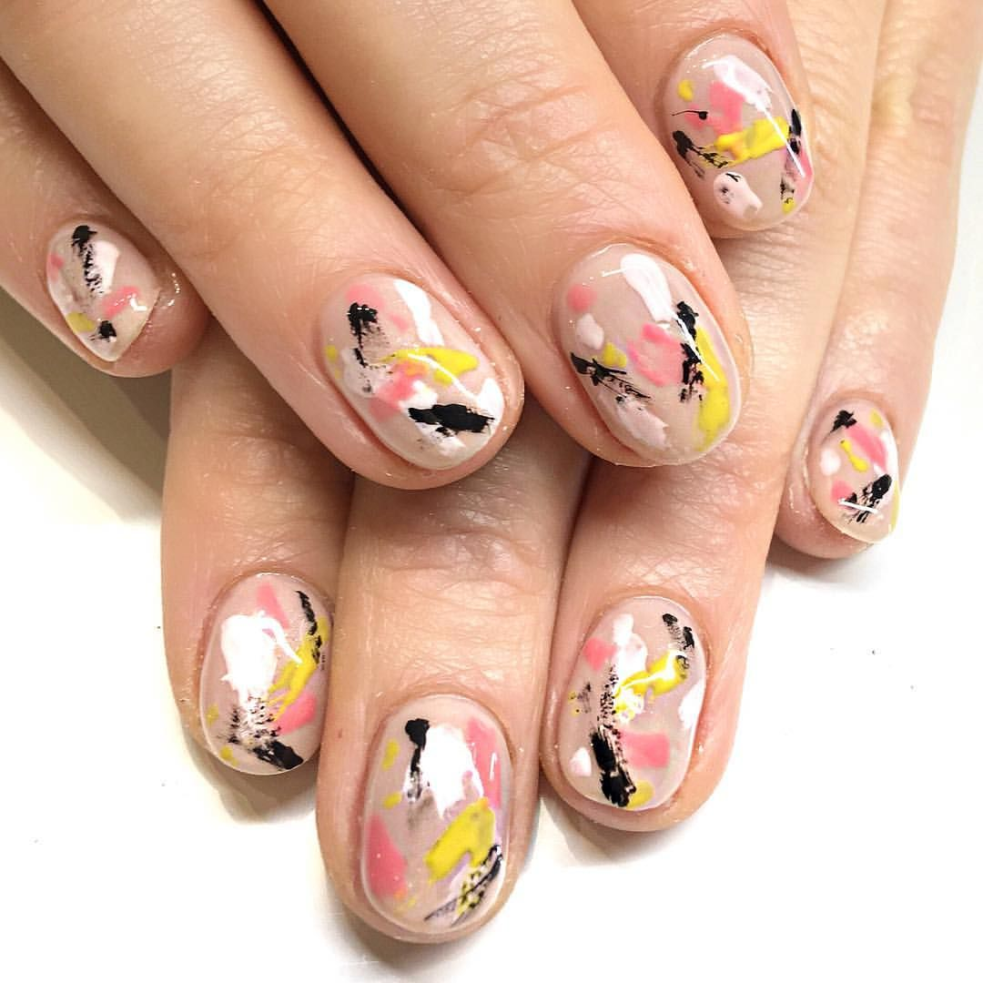 Brushstroke Abstract Nail Art With Very Spring Time Pops Of Color