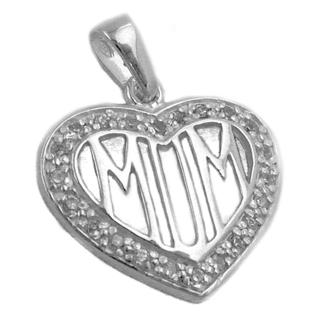 pendant zirconia heart mom silver 925