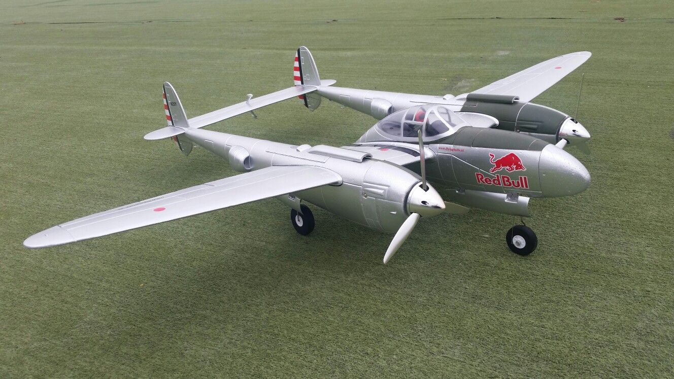 This is an rc model of a P38 Lightning, ready for the Red