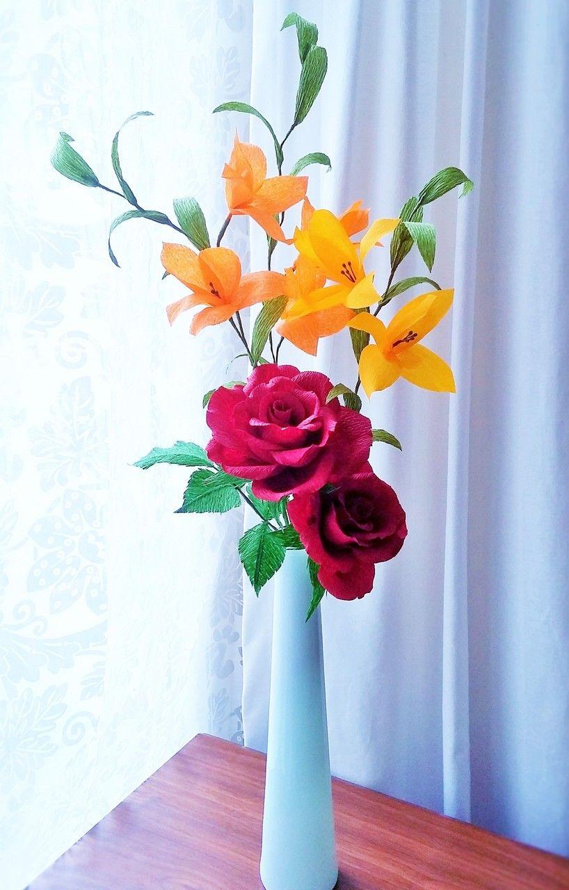 Crepe Paper Flower Arrangement Handmade By Amelis Lovely