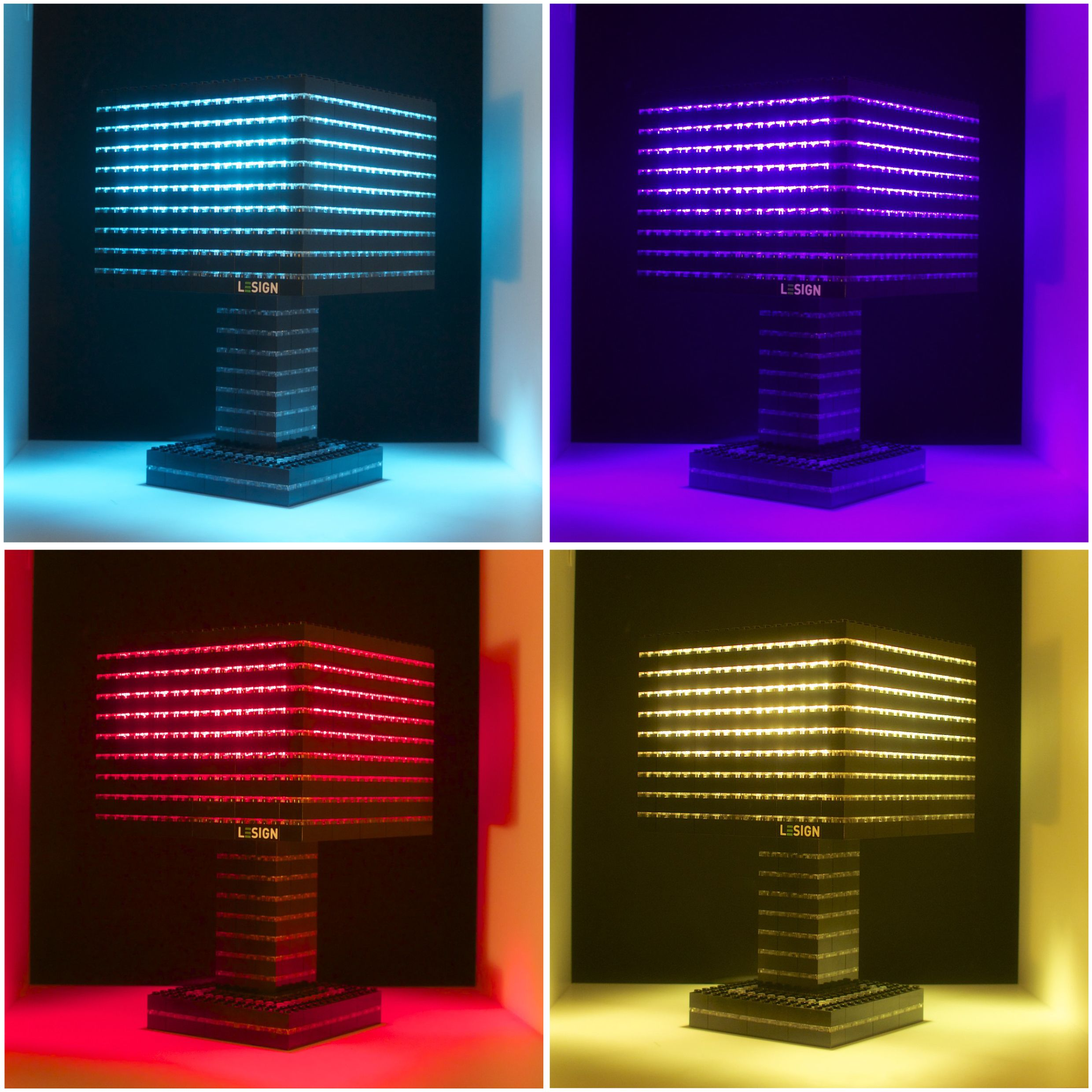 Beautiful Farbenfrohe Lego Lampe mit spezieller LED Gl hbirne die auf Knopfdruck die Farbe wechseln kann Colorful Lego lamp with color changing light bulb