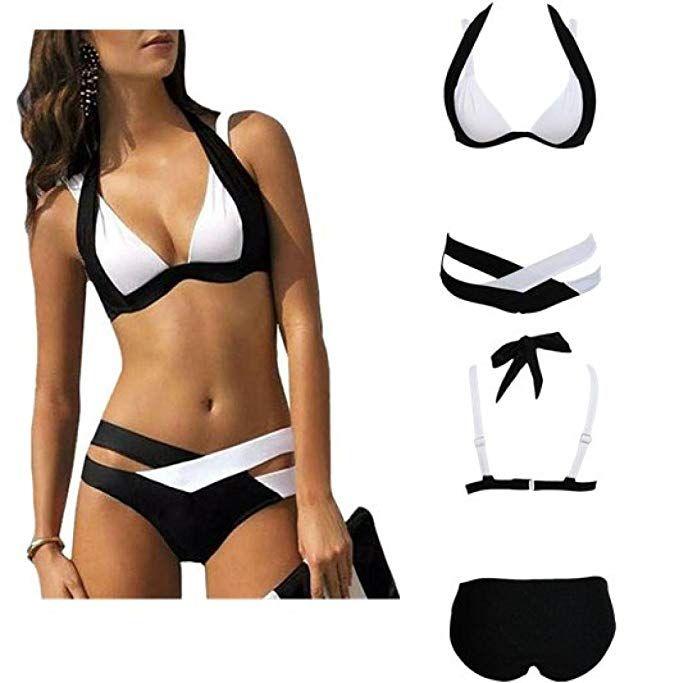 beautyjourney Costume da bagno Plus Size Donna Due Pezzi Ragazza Imbottito  Reggiseno Spiaggia Costumi da bagno 4e295dea7cd