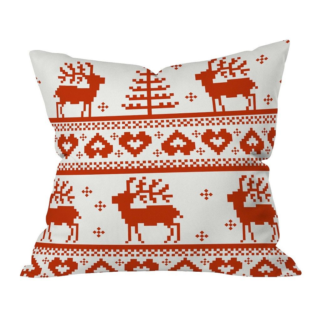"""Red Geometric Natt Knitting Red Deer Throw Pillow (20""""x20"""