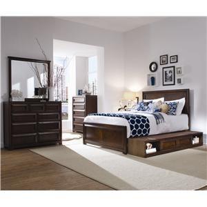 Lea Industries Elite   Expressions Full Platform Storage Bed With Bookcase  Backboard   Darvin Furniture