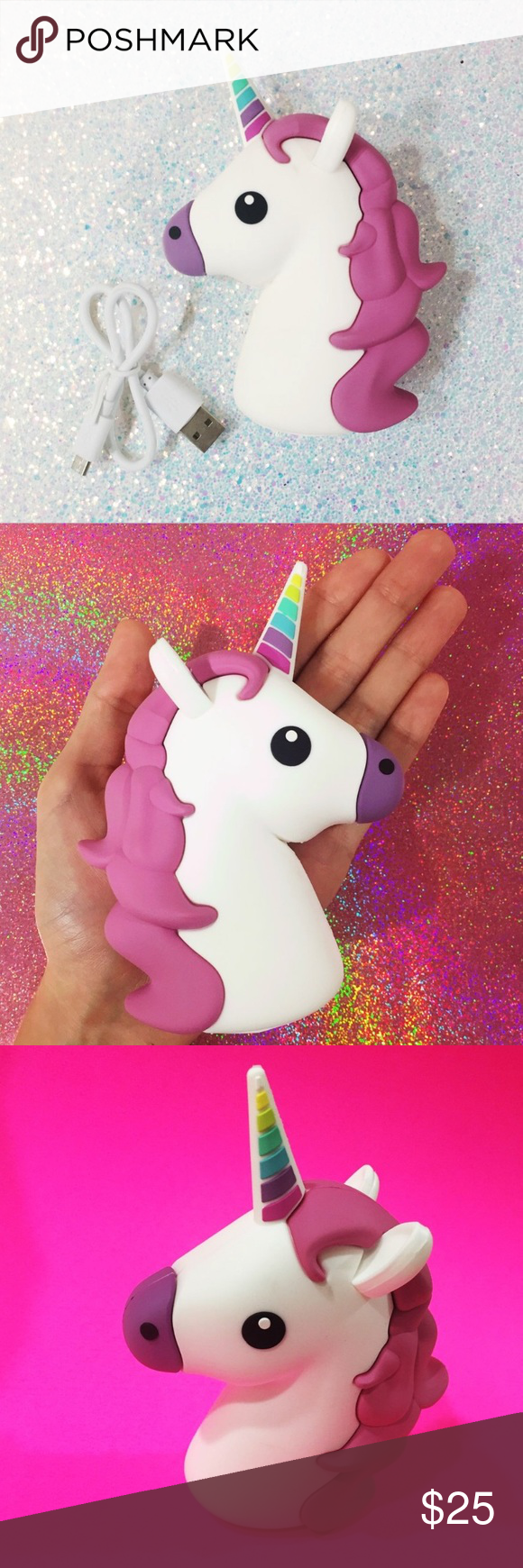 Unicorn Power bank Power bank Unihorne usb phone charger by Wattzup. Device charges IOS & Android devices. Such as Apple Iphone 5s/5/6/6s/6+/6s+ Samsung galaxy S7/S6/ S7 edge etc - 100% full charge for Iphone 6/6s and up to 70% charge for Iphone 6+/6+s Used it as a prop for pictures but never to charge my phone. It is brand new! Ships without box. Retail price is 40$ selling it for 25$ . #unicorn #powerbank #dollskill #uo #forever21 #kawaii #emoji #unicornemoji #dollskill #unif #girlboss…