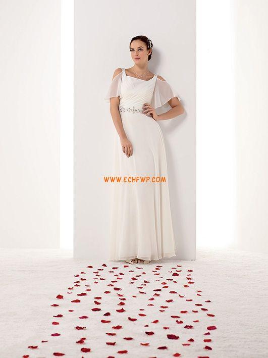 A-linje Gulvlengde Kort Erme Bryllupskjoler 2014