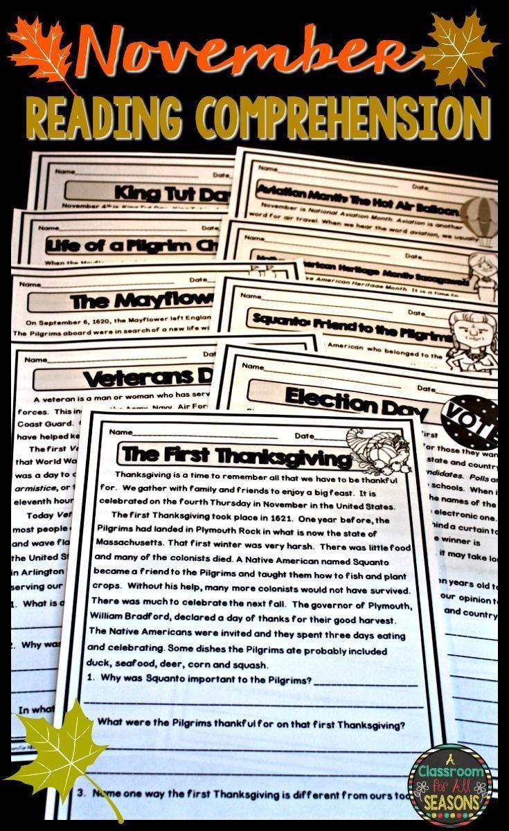 Workbooks thanksgiving reading comprehension worksheets middle school : November Reading Comprehension Passages | Reading comprehension ...
