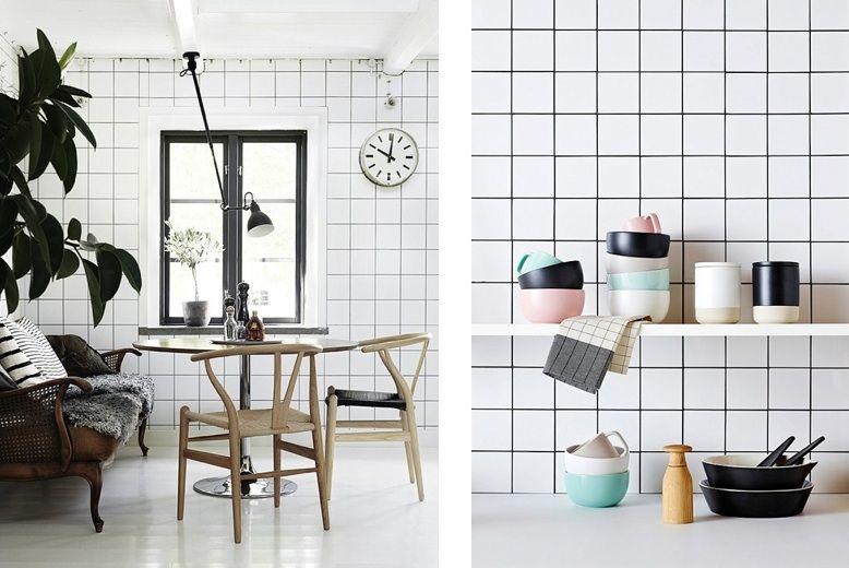 white square tiles dark grout flat