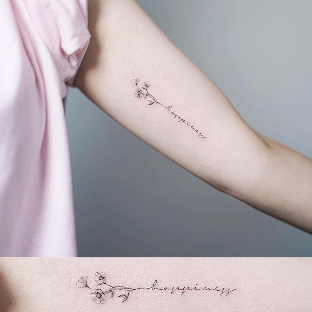Happiness  .  .  #tattoo #tattooist #flowertattoo #nandotattoo #타투 #라인타투 #꽃타투 #난도타투