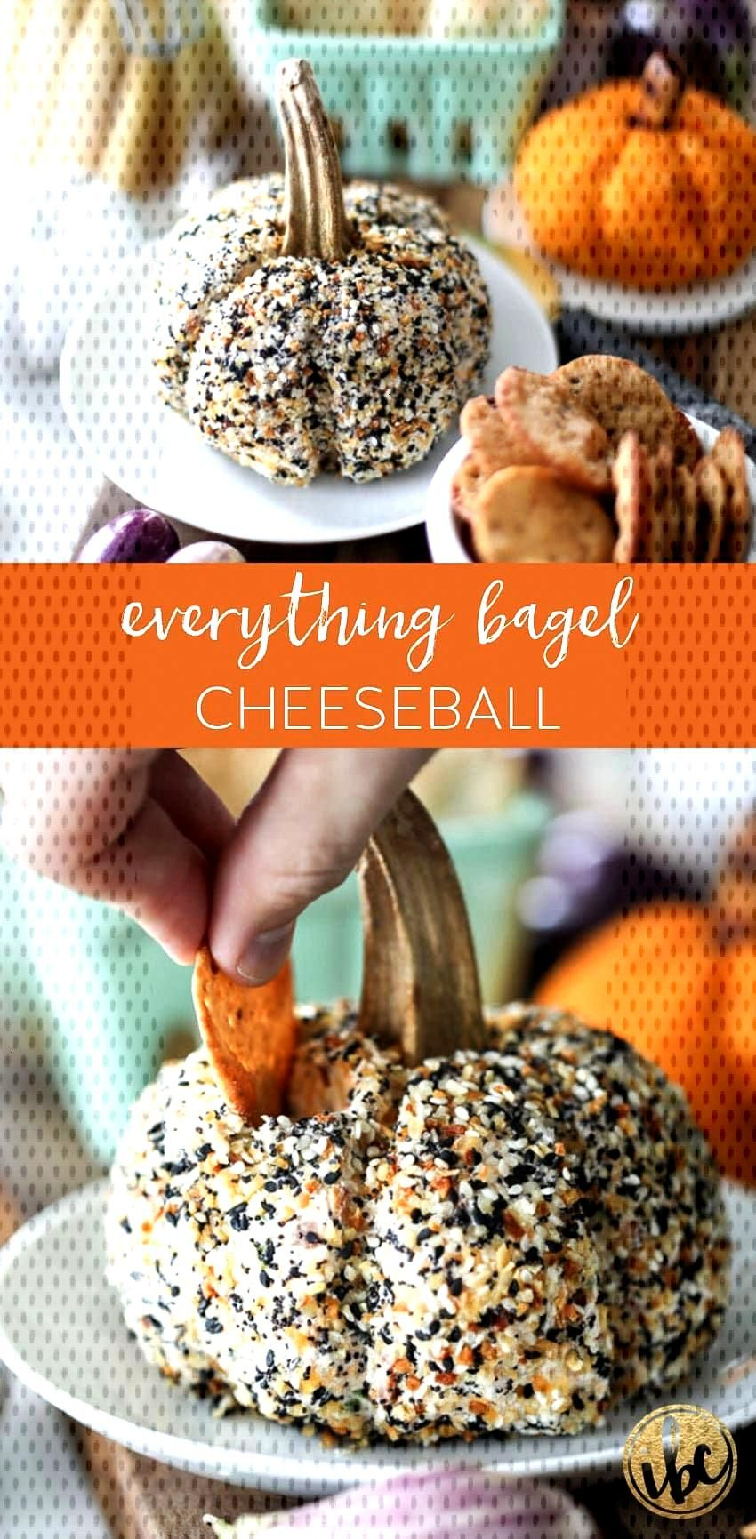 This pumpkin-shaped Everything Bagel Cheeseball is the perfect fall appetizer recipe. via @inspired
