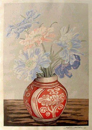 hanga gallery . . . torii gallery: Flowers in Red Vase by Yoshijiro Urushibara
