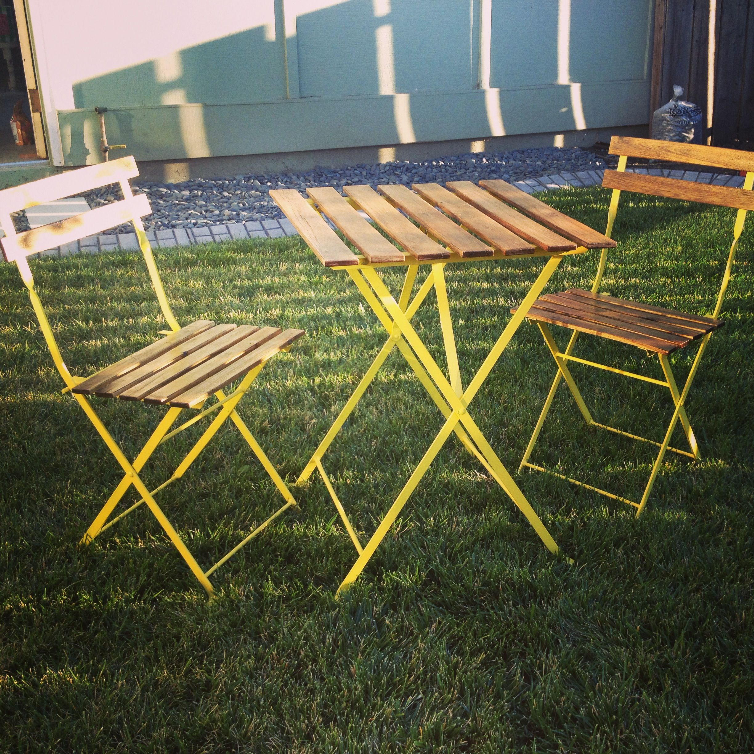 Old Weathered Ikea Bistro Table Up Cycled And Given New Life A Can Of Rustoleum Sun Yellow And S Bistro Table Outdoor Indoor Furniture Outdoor Furniture Sets