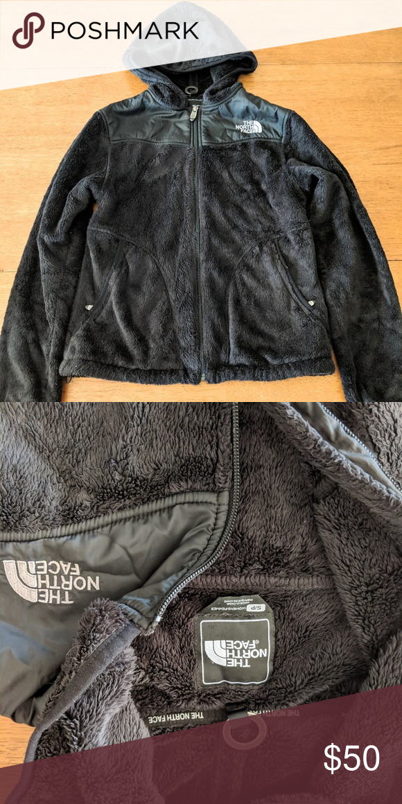 Black fuzzy north face with hood