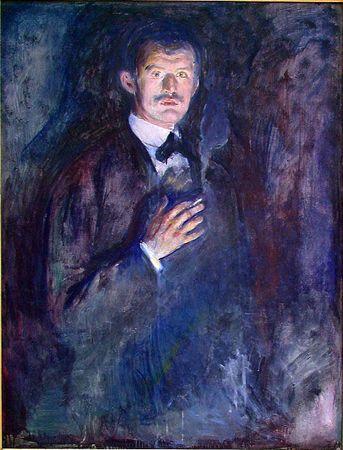 Edvard Munch: Self portrait with cigarette [1895]