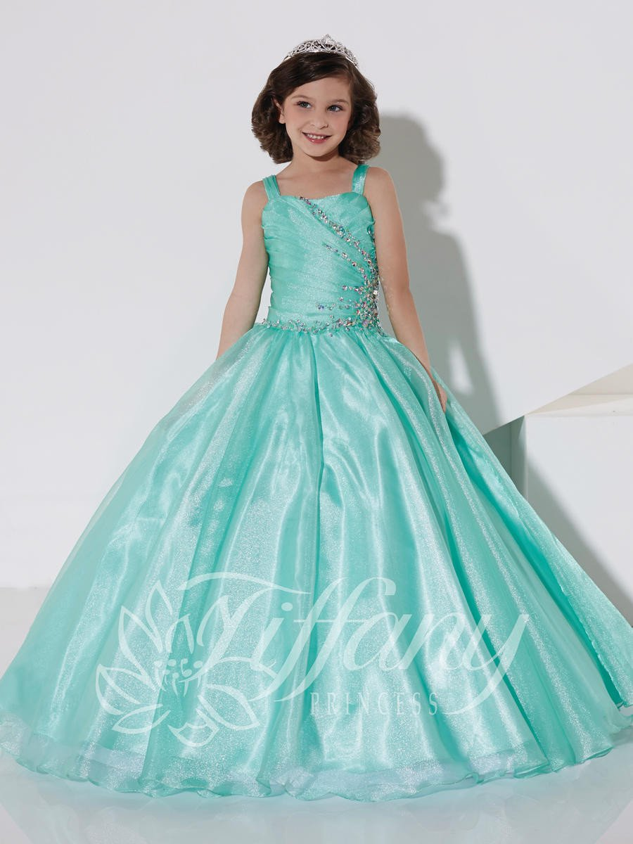 Tiffany princess mint straight neckline with straps pageant