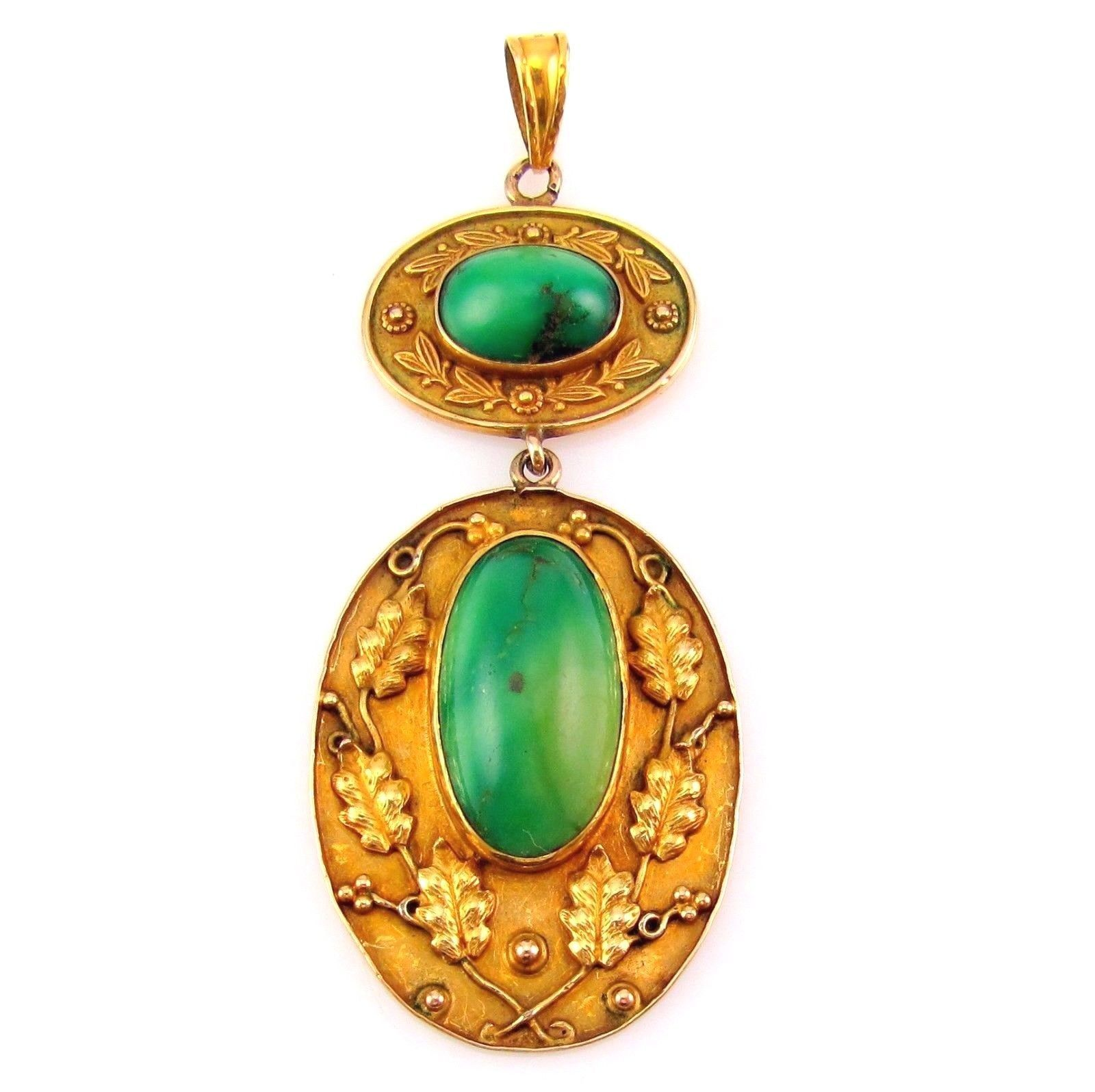 Antique Arts & Crafts Natural Turquoise Estate Pendant 10K Yellow Gold | FJ IM in Jewelry & Watches, Vintage & Antique Jewelry, Fine, Art Nouveau/Art Deco 1895-1935, Necklaces & Pendants | eBay