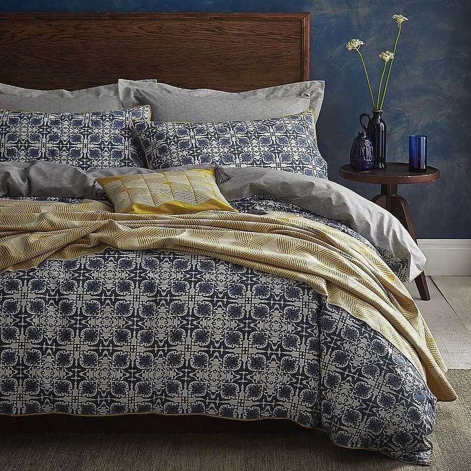 Amal Blue Reversible Duvet Cover And Pillowcase Set Dunelm Reversible Duvet Covers Blue Duvet Cover Duvet Covers