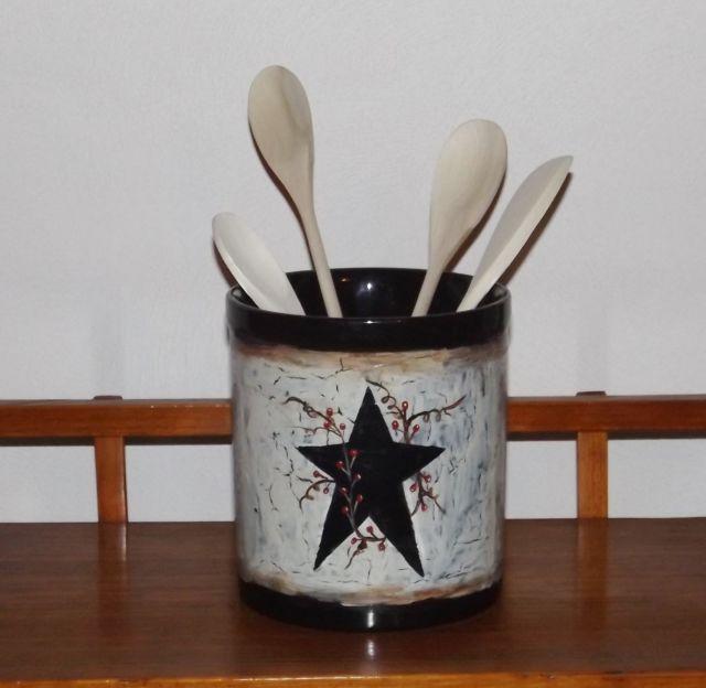 Primitive Crackle Black Star Kitchen Utensil Holder Country Farmhouse Decor  | EBay