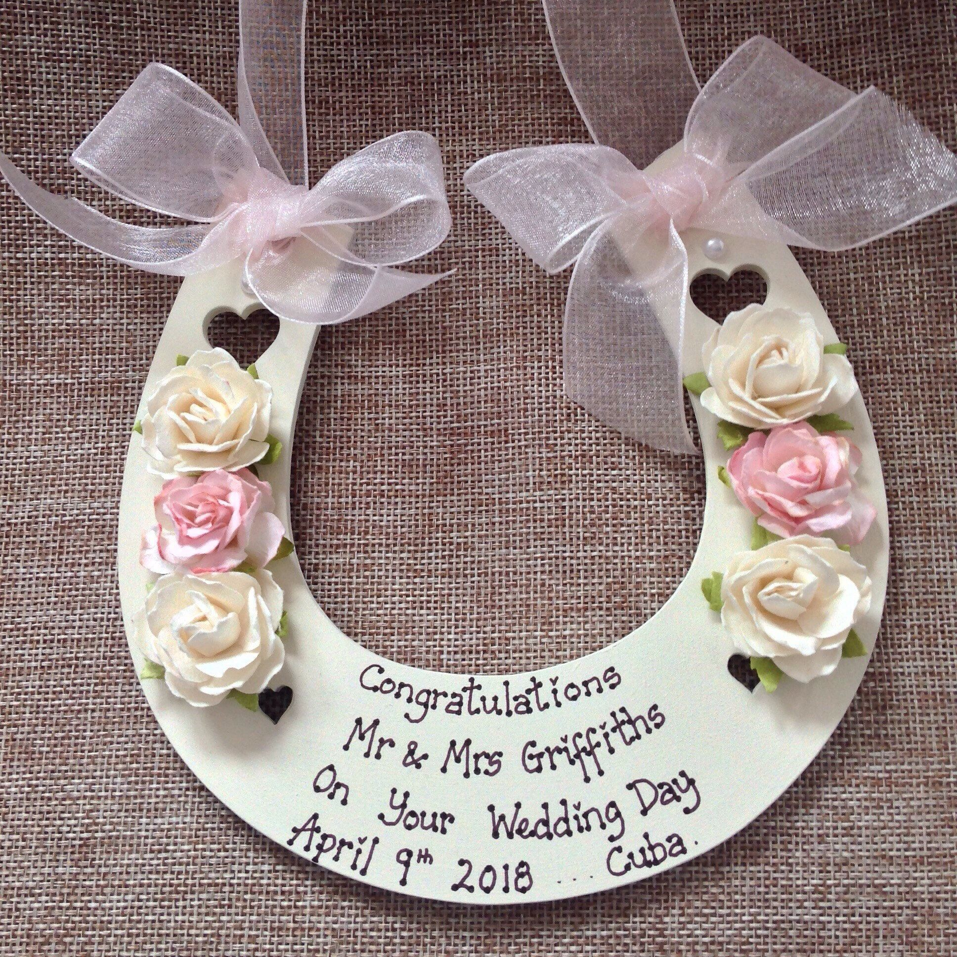 Personalised Wedding Horseshoe Wedding Gift Keepsake Bride Groom