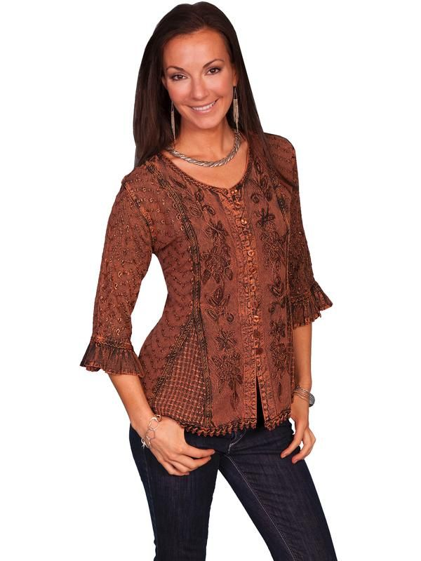 b3880409cd5 Scully Ladies  Honey Creek Collection Blouse  3 4 Sleeve Blouse ...