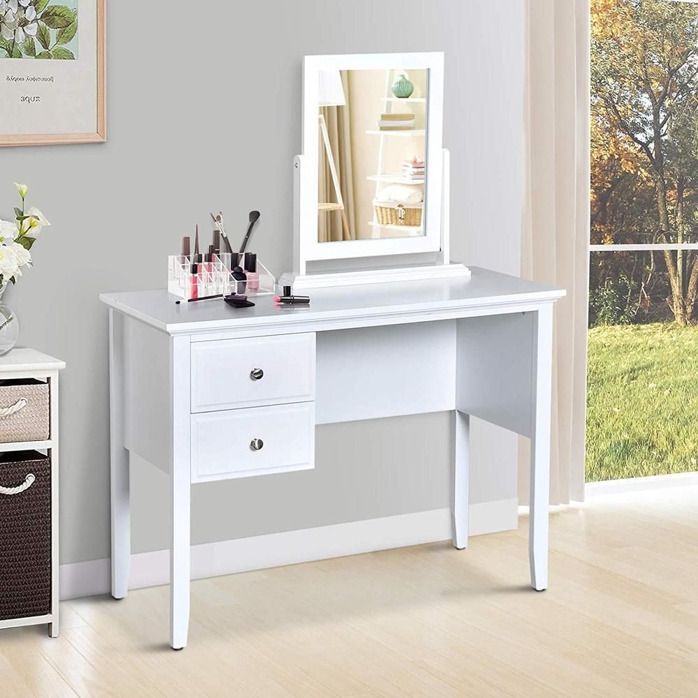 Modern White Dressing Table Storage Drawers Rotatable