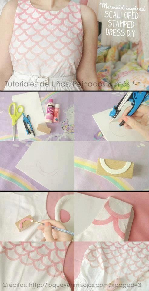 Schablone um gleichmäßiges Schuppen muster zu Malen auf Stoff | DIY ...