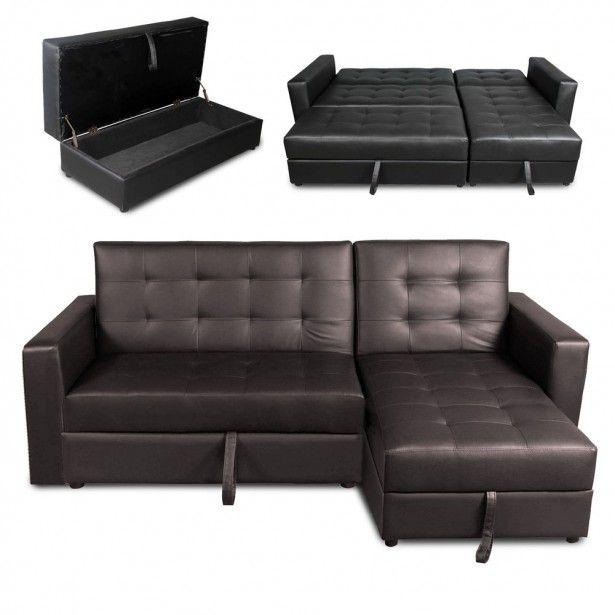Charmante Leder Sofa Bett Mit Stauraum Deluxe Kunstleder Ecksofa Storage Schlafsofa Couch
