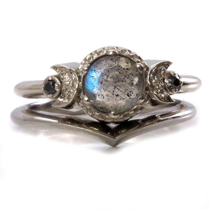 Gothic Triple Moon Engagement Ring Set Labradorite and Black