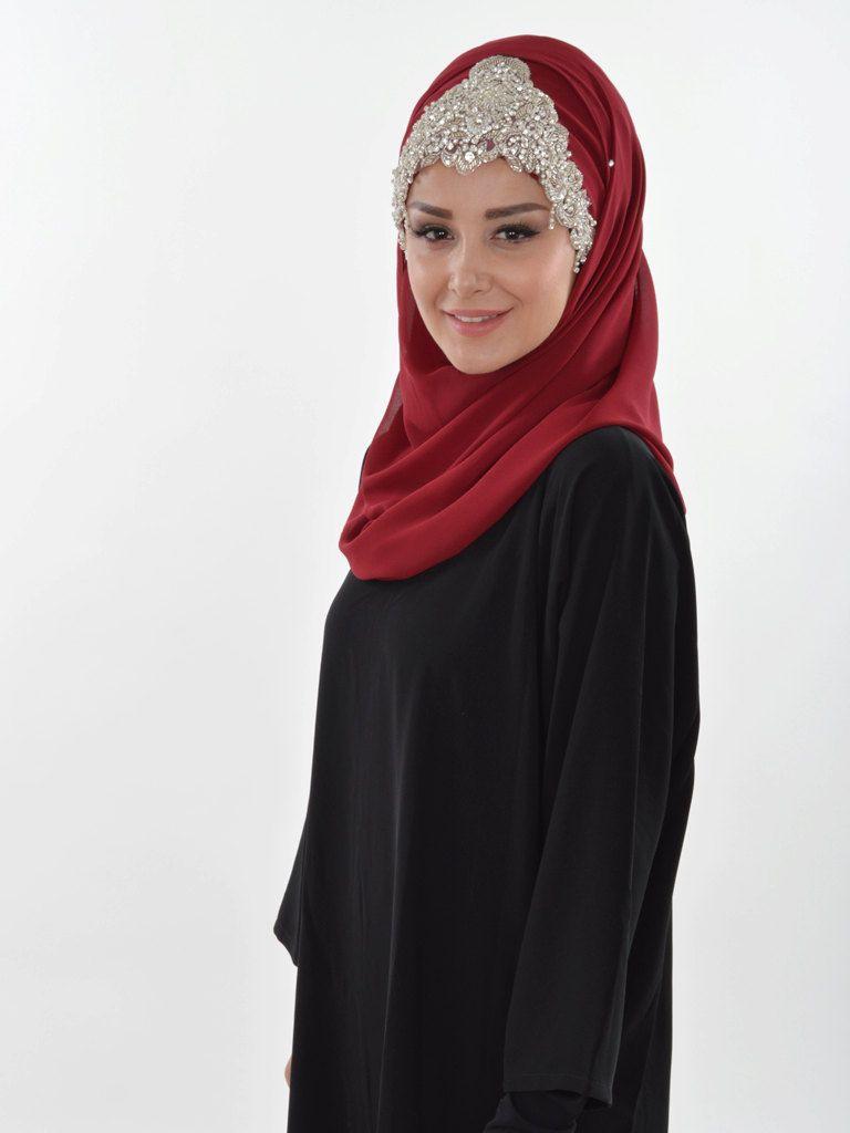 Ready to wear hijab, Cross Practical Shawl Chiffon, Turban, Hijab, Tesettur, Shawl, CPS-0036 Maroon by MelikesDesign on Etsy