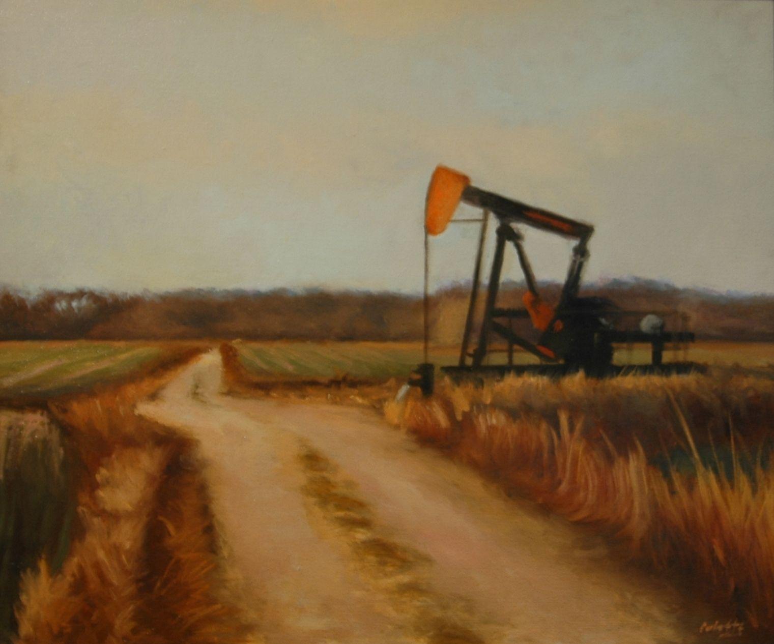 "Kansas oil well 20""x24"" oil on canvas Kansas, Oil well"