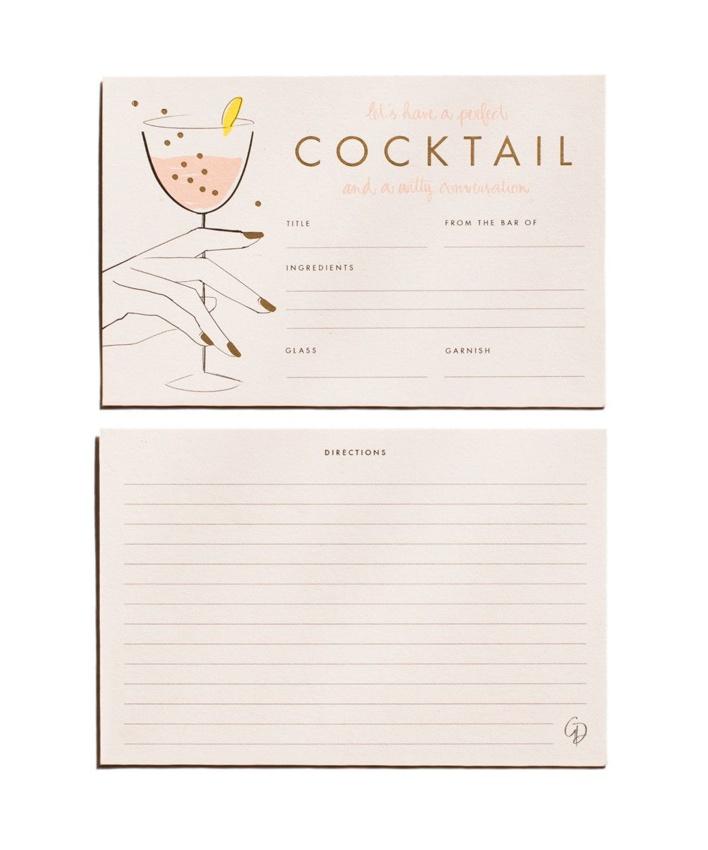 Cocktail Recipe Cards Recipe Cards Recipe Cards Template Cocktails