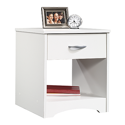 Easyglide drawer with safety stops. Open shelf provides