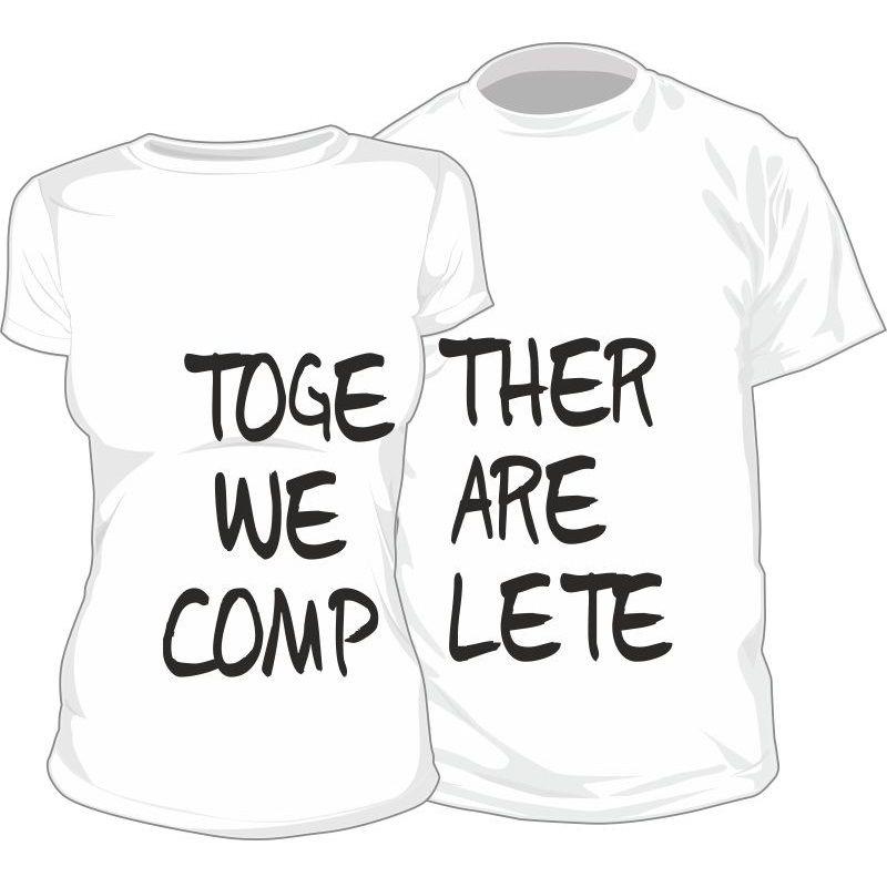 Lot de 2 T-shirts pour amoureux : TOGETHER WE ARE COMPLETE - SiMedio