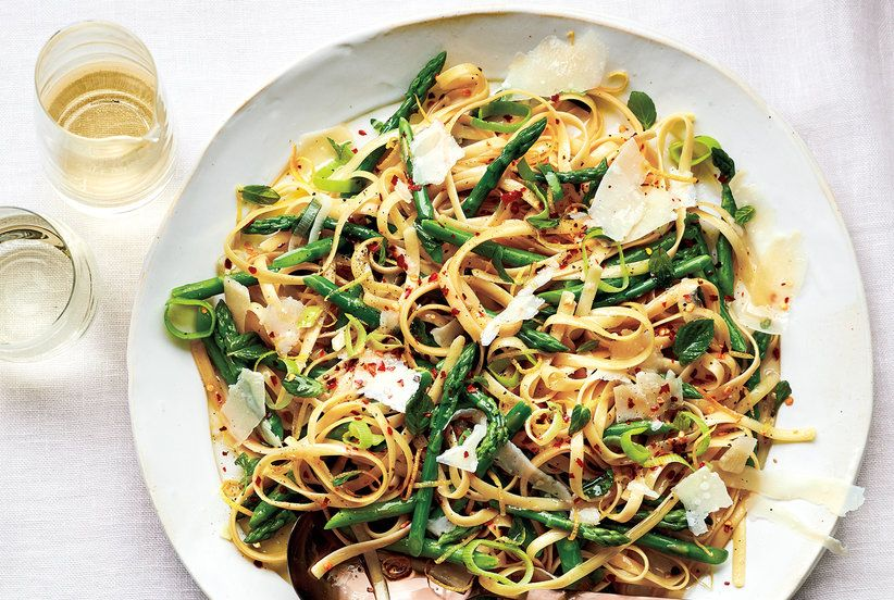Fettuccine With Asparagus, Leeks, and Mint Recipe