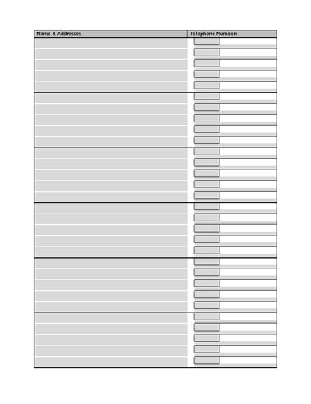phone book template word