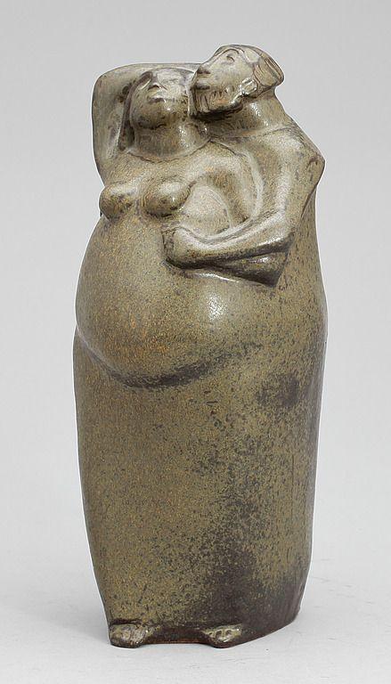 Åke Holm (1900-1980) Skulptur Abraham och Sahra. Glaserat
