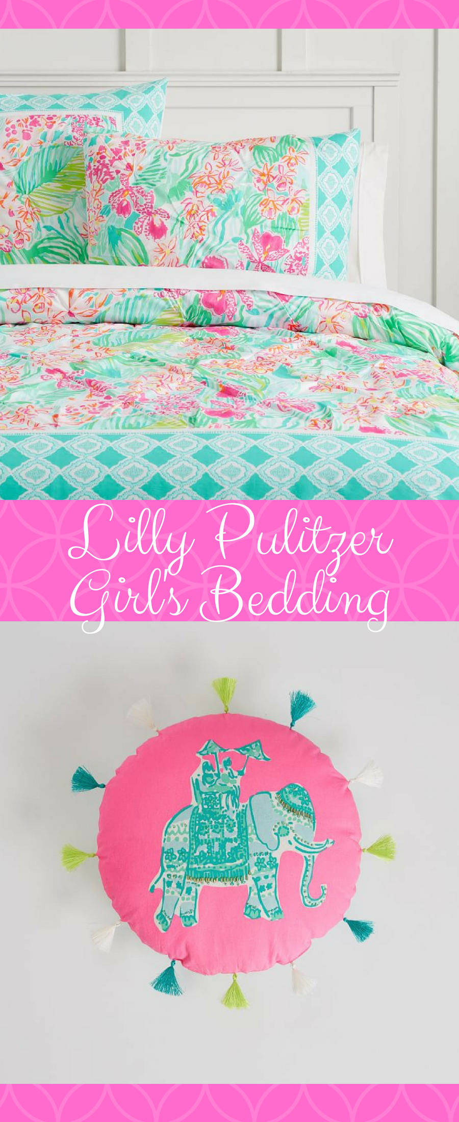 7b31cda175b823 With vibrant prints and bright colors, this Lilly Pulitzer Organic Orchid  Border Duvet and Sham